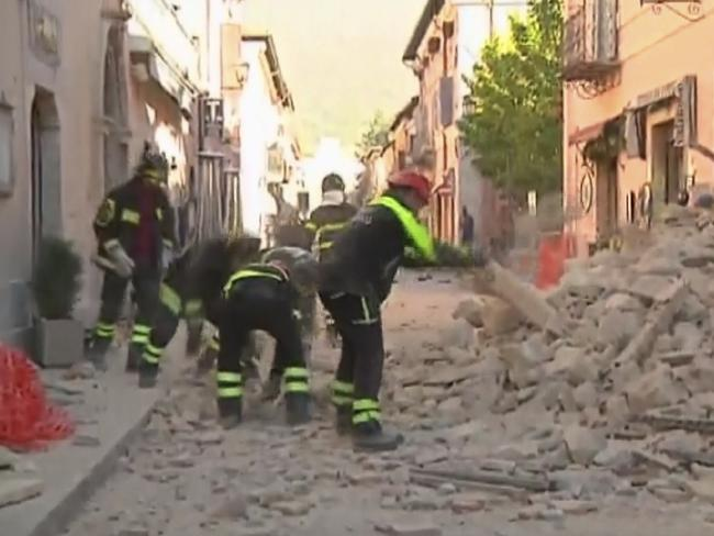 Rescuers are scrambling to assist the wounded after a powerful 6.6 magnitude earthquake struck central Italy. Picture: Sky Italia via AP