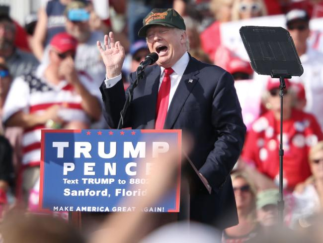 Republican presidential nominee Donald Trump addresses supporters at a rally in Sanford, Florida. Picture: AFP/Gregg Newton