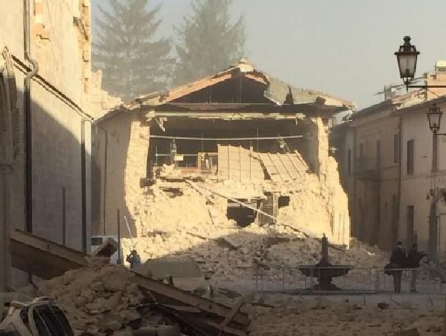 Live television coverage showed the collapse of a church in the centre of Norcia, a town near Perugia in Umbria. Parts of the town had already been sealed off. Picture: Twitter/Steve Amann