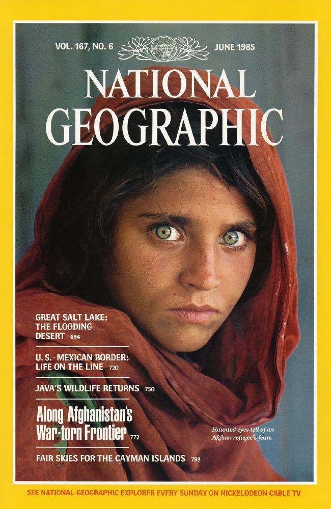 A haunting photo of Sharbat Gula appeared on the cover of National Geographic in 1985. Picture: National Geographic Society