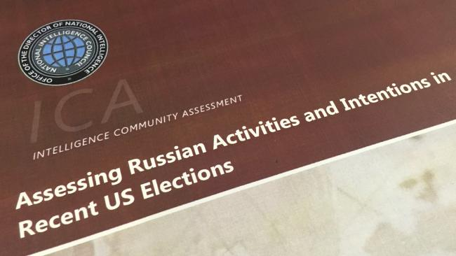A part of the declassified version of the Intelligence Community Assessment on Russia's efforts to interfere with the US political process. Picture: AP/Jon Elswick