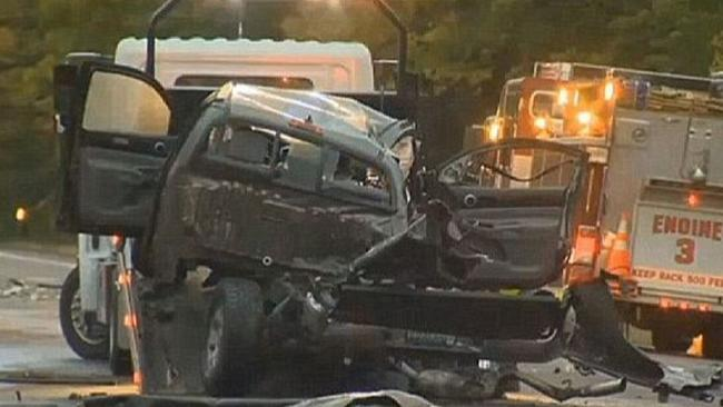 The scene of the crash that killed five teenagers. Picture: WCAX