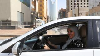 A woman in Saudi Arabia driving