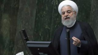 Hassan Rouhani addresses the Iranian parliament in Tehran on 3 September 2019