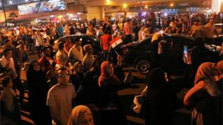 Protesters in Cairo's Tahrir Square after corruption allegations were made against President Fattah al-Sisi